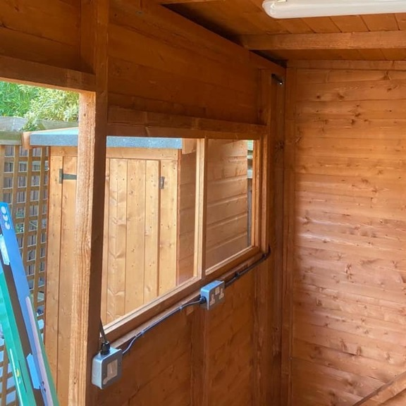 electric installation in garden shed